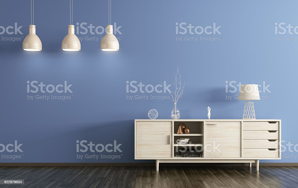 Modern interior of living room with wooden dresser 3d rendering vector art illustration