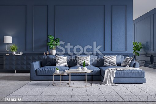 902720222 istock photo Modern  interior of living room,blue sofa with cofee table on carpet tiles and dark blue wall,3d rendering 1175183186