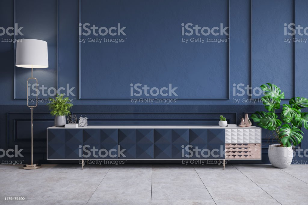 Modern Interior Of Living Roomblue Tv Cabinet On Dark Blue Wall3d Rendering Stock Photo Download Image Now Istock