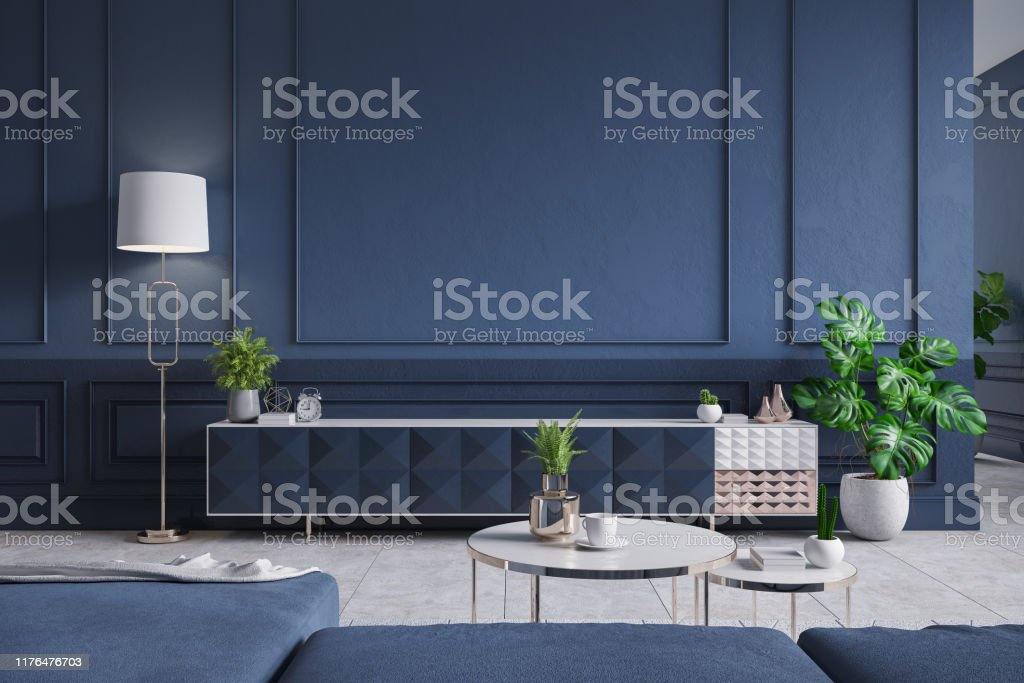 Modern Interior Of Living Roomblue Tv Cabinet With Sofa Dark Blue Wall And Concrete Gray Tile Floor3d Rendering Stock Photo Download Image Now Istock,Romantic Master Bedroom Bedroom Wall Art