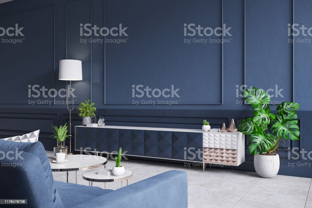 Modern Interior Of Living Roomblue Tv Cabinet With Sofa Dark Blue Wall And Concrete Gray Tile Floor3d Rendering Stock Photo Download Image Now Istock