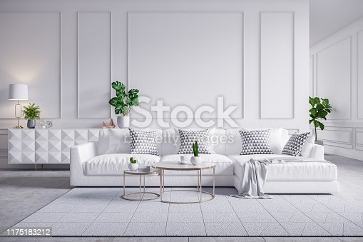 610958498 istock photo Modern  interior of living room,white sofa with cofee table on carpet tiles and white wall,3d rendering 1175183212