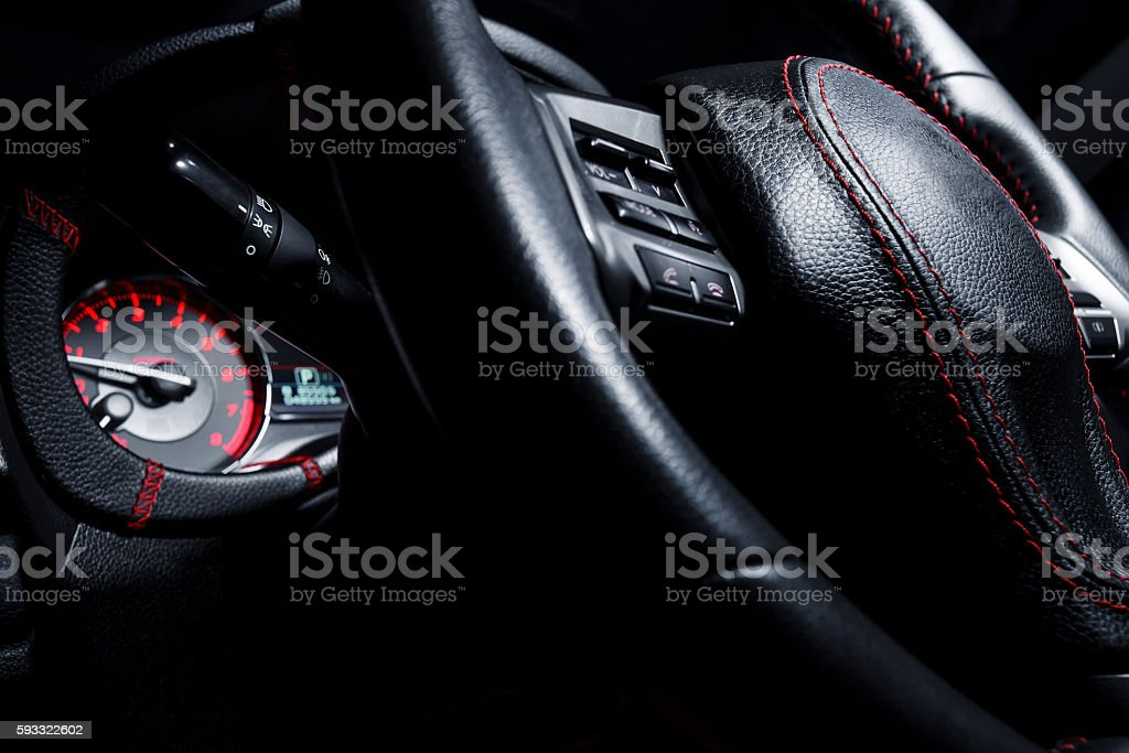 Modern interior of premium car with leather seats – Foto