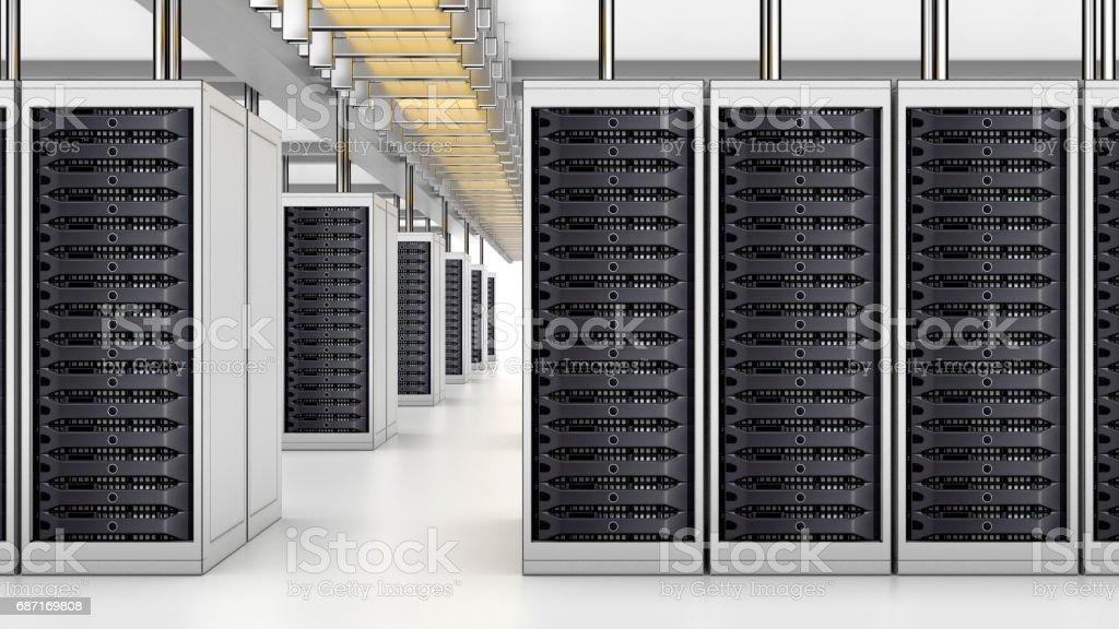 modern interior of server room super computer server room datacenter