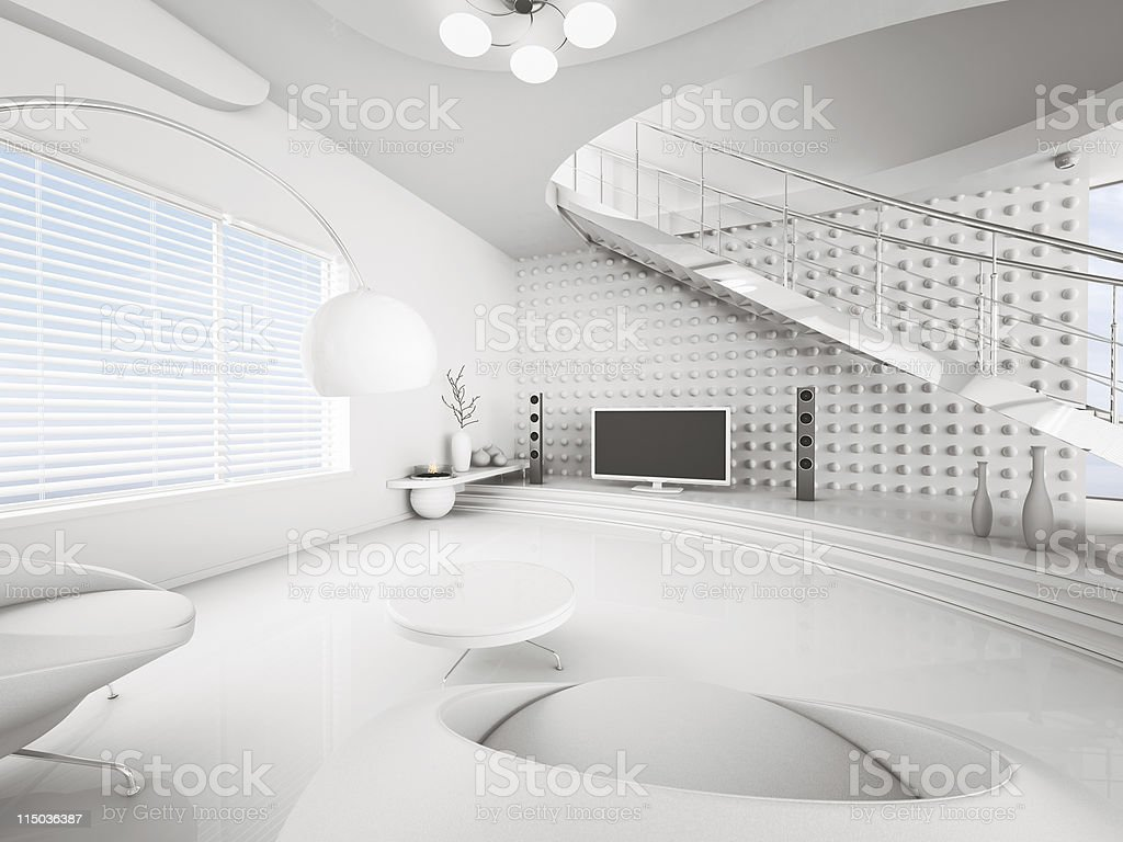 Modern interior of white living room 3d render royalty-free stock photo