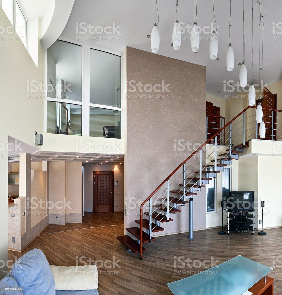 Modern interior (panoramic photo) royalty-free stock photo