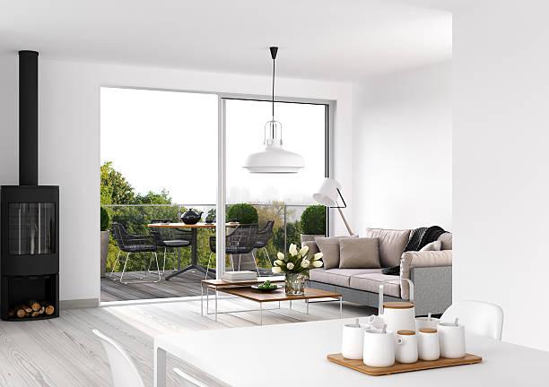 moderne inneneinrichtung  - outdoor esszimmer stock-fotos und bilder