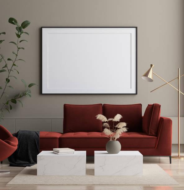 modernes interieur, poster mock-up - hausmodell stock-fotos und bilder