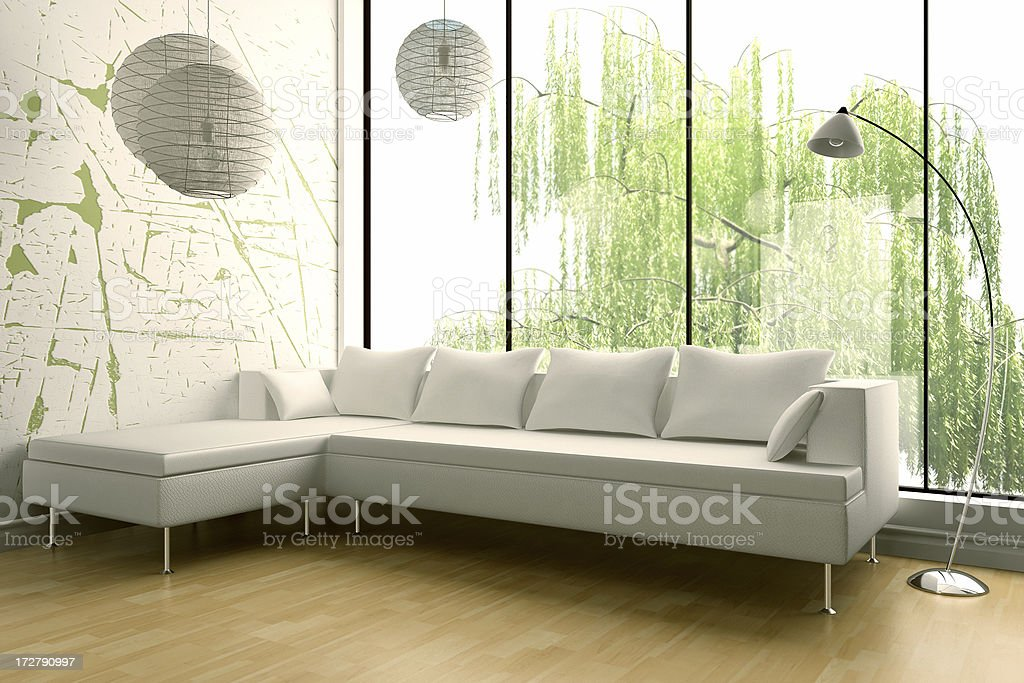 Modern Interior render (CGI) royalty-free stock photo