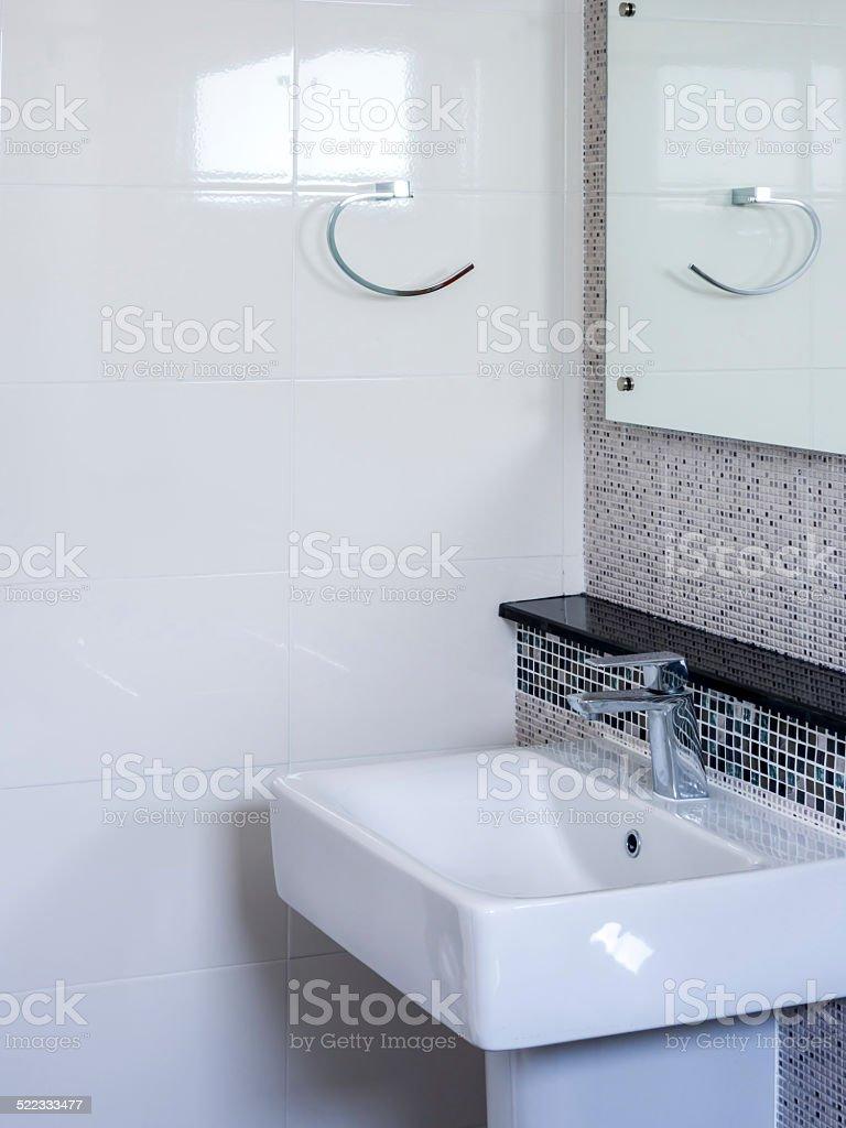 Modern interior restroom with lavatory stock photo