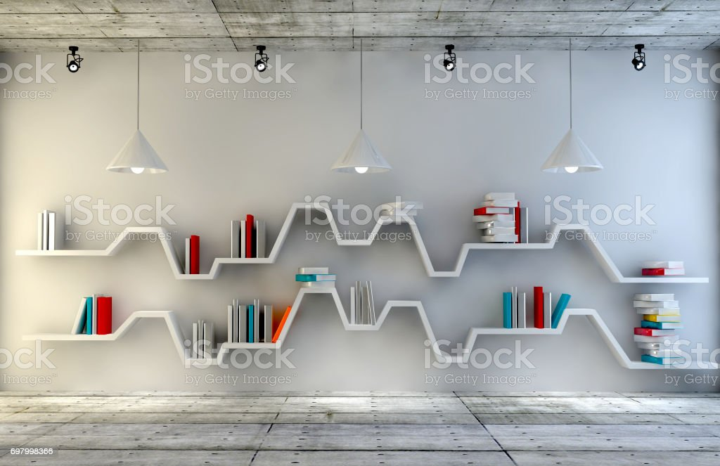 Modern Interior Room With A Beautiful Furniture Minimalist Bookshelf Over Dramatic Concrete And Wood Background