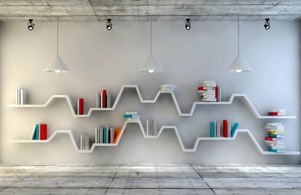 Moderne Innenliegendes Zimmer mit schönen Möbeln. Minimalistische Bücherregal über dramatische Beton und Holz Hintergrund, moderne Kunst. 3D Render. – Foto