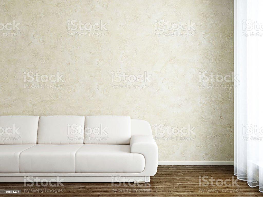 Modern Interior Room with White Sofa Near Stucco Wall royalty-free stock photo