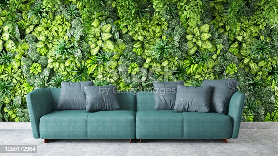 450754061 istock photo Modern interior Sofa with Green Plants on the Wall 1255172964