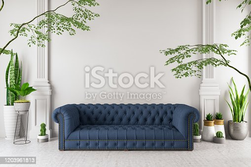 1090975842 istock photo Modern interior Sofa with Green Plants 1203961813