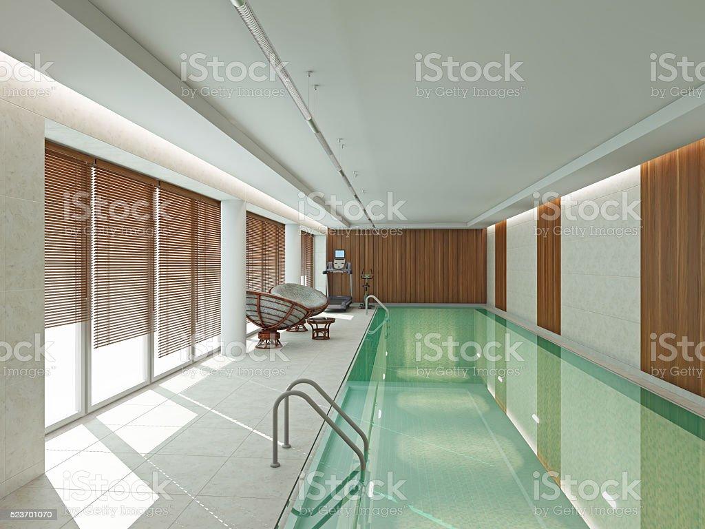 Moderne Interieur Schwimmbad 3D-Abbildung – Foto