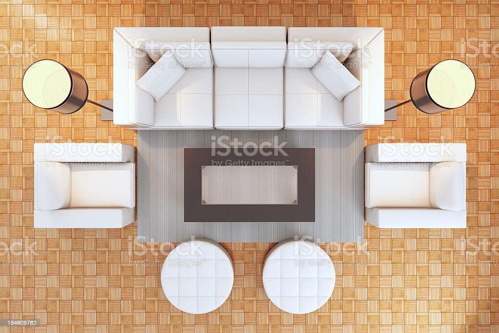 Modern interior top view stock photo