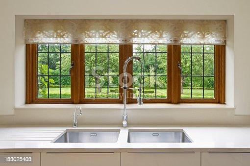 istock Modern interior view of kitchen window looking into yard 183025403