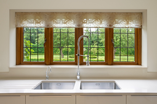 istock Modern interior view of kitchen window looking into yard 183025403
