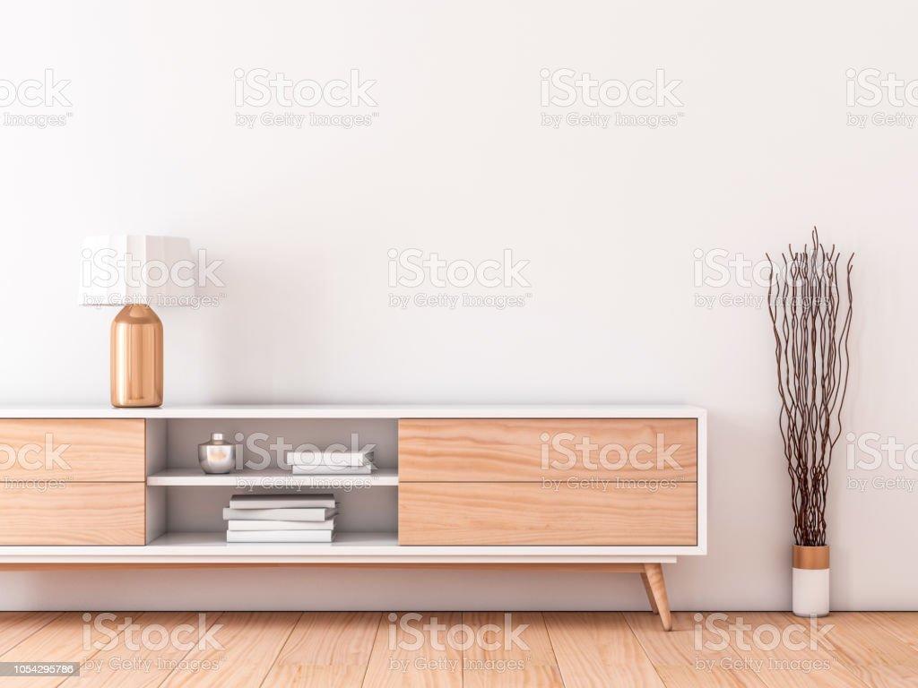 Foto de parede interior moderna mockup com moderno bureau para