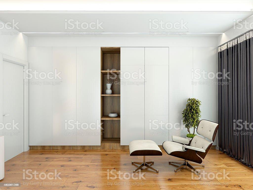Moderne Inneneinrichtung mit einem Stuhl und einem Schrank 3D-rendering – Foto