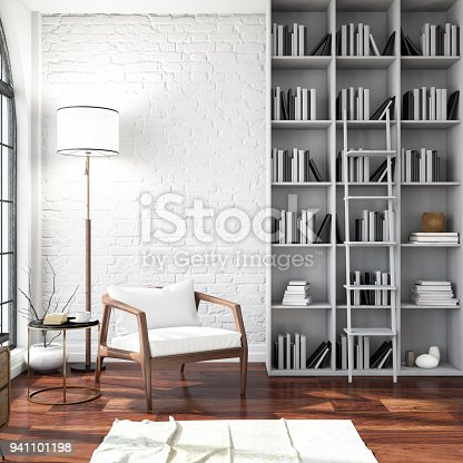 istock Modern Interior with a Chair and Books 941101198