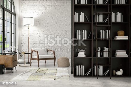 istock Modern Interior with a Chair and Books 953800316
