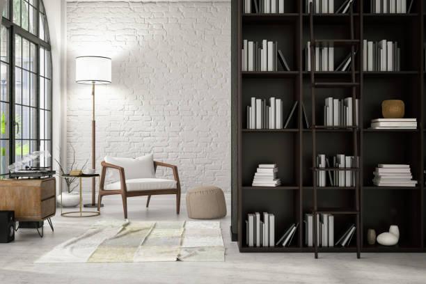 modernes interieur mit einem stuhl und bücher - regal schwarz stock-fotos und bilder