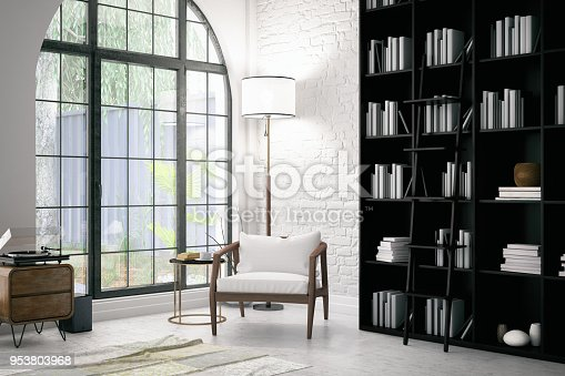 istock Modern Interior with a Chair and Books 953803968