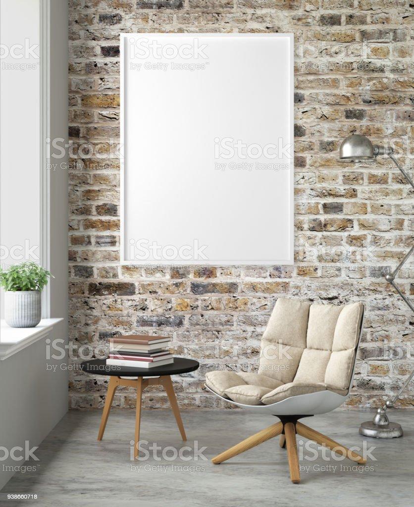 Interior moderno com um modelo de moldura de cadeira e imagens - foto de acervo
