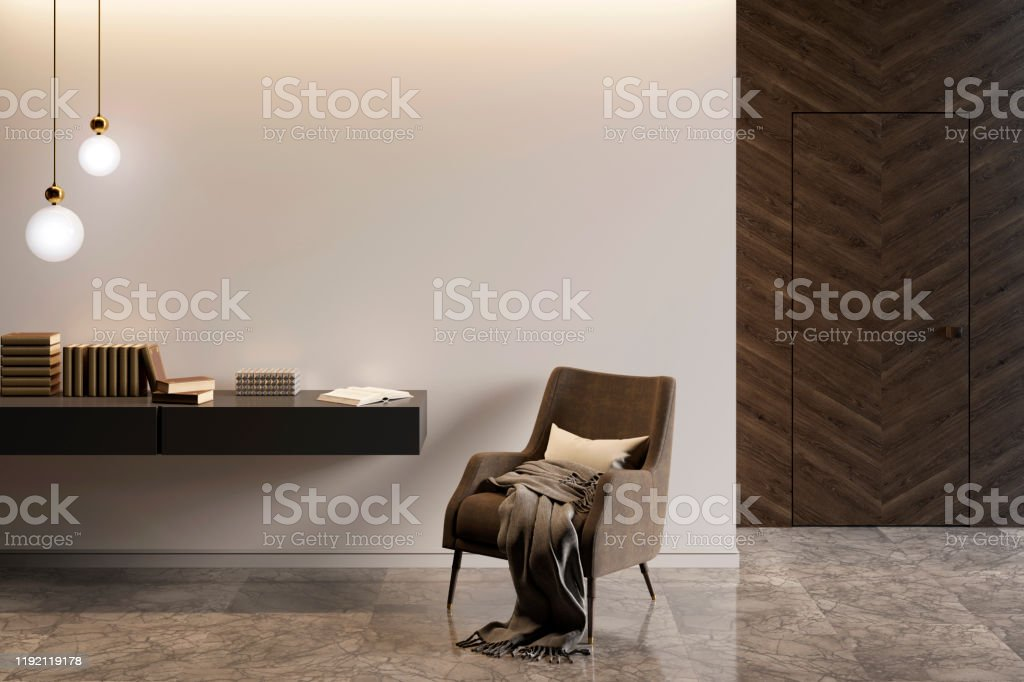 Modern Interior With An Armchair And A Stand With Decor Marble Flooring And A Dark Wooden Door Stock Photo Download Image Now Istock