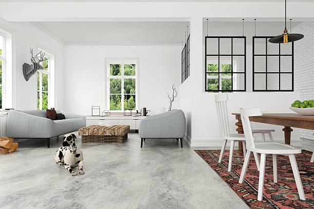 modern interior with armchairs and a dining table - betonboden wohnzimmer stock-fotos und bilder