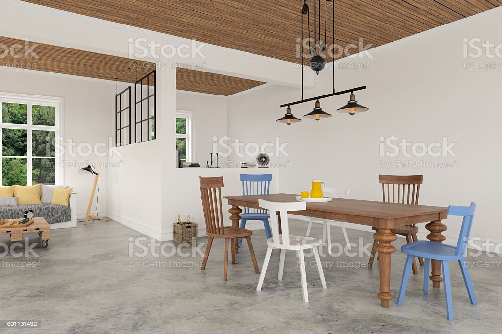 Modern interior with armchairs and a dining table stock photo