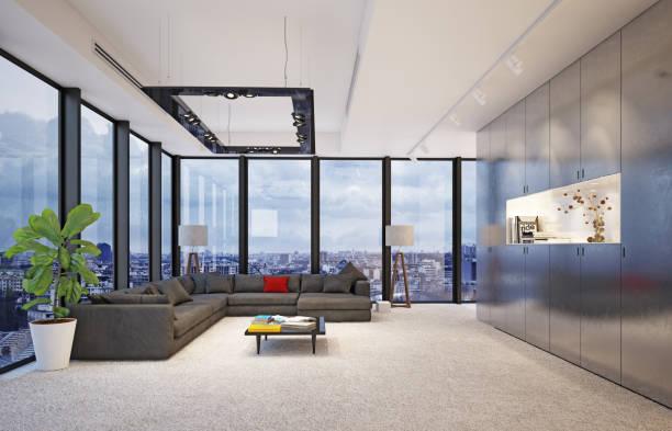 modern interior with big glass windows, modern interior with big glass windows, 3d rendering concept design penthouse stock pictures, royalty-free photos & images