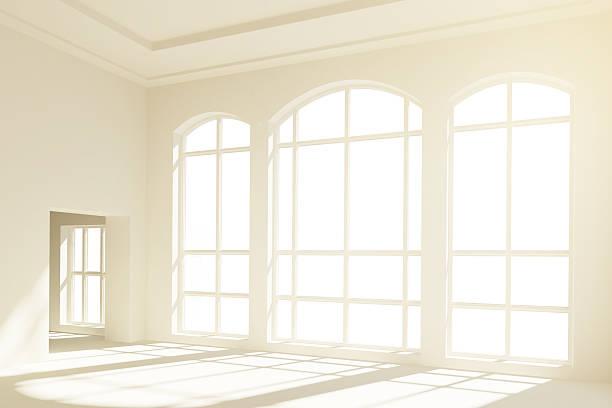 modernes interieur mit großen hellen fenstern etage - fensterfront stock-fotos und bilder