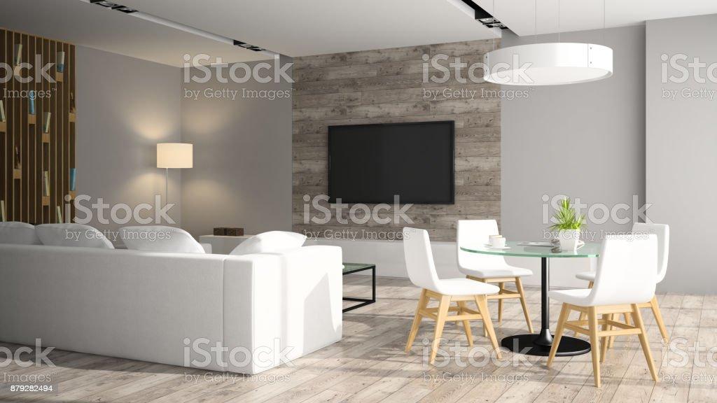 Moderne Einrichtung Mit Schwarzen Sofa 3D Abbildung Lizenzfreies Stock Foto