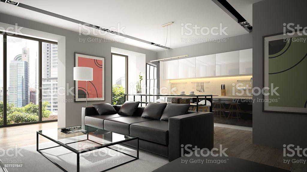 Divano Nero Moderno : Divano nero interno moderno con pavimenti in parquet e rendering
