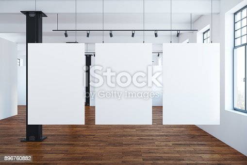 istock Modern interior with blank banners 896760882