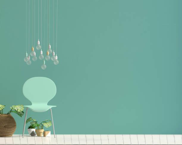 modernes interieur mit stuhl. mock-up wand. 3d illustration. - sessel türkis stock-fotos und bilder