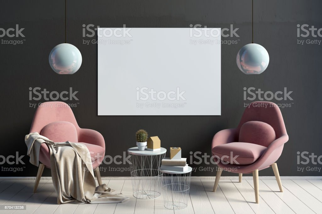 Modernes interieur mit tisch und zwei stühle mockupposter d