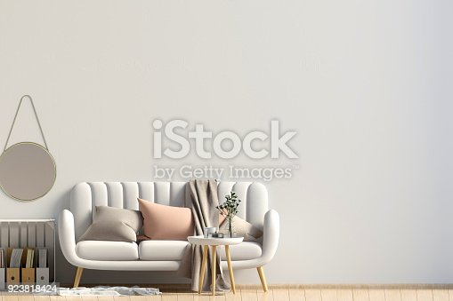 istock Modern interior with coffee table and sofa. Wall mock up. 3d illustration. 923818424