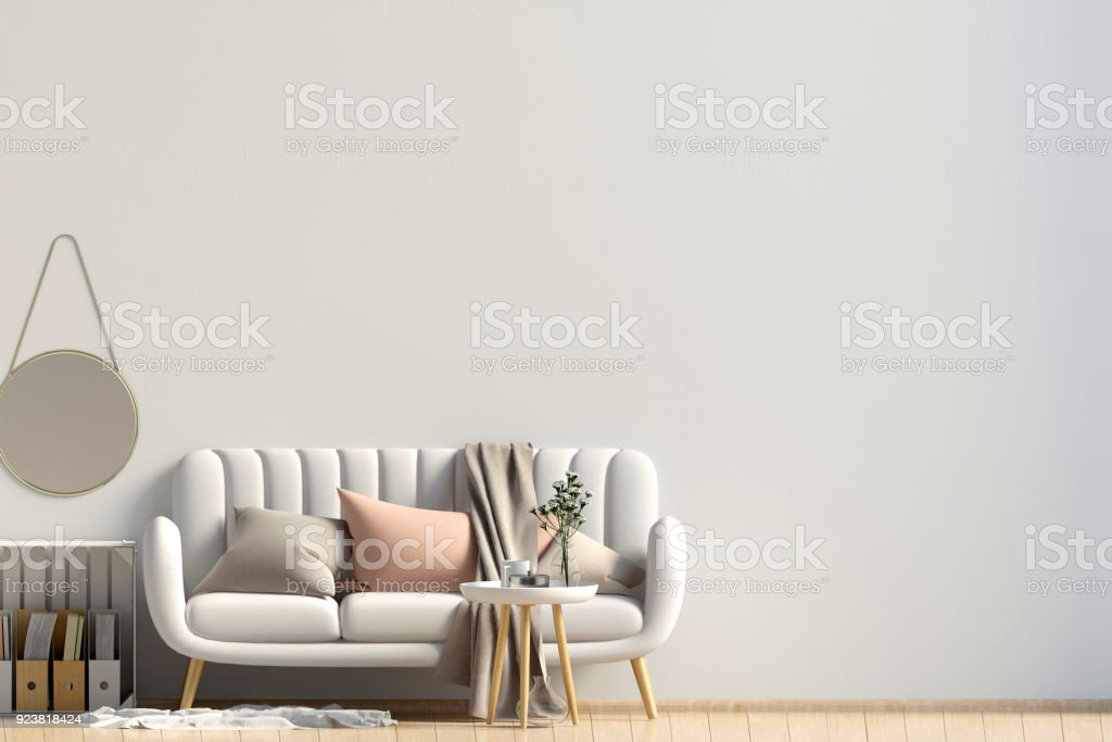 Modern interior with coffee table and sofa. Wall mock up. 3d illustration. stock photo