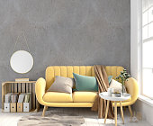 istock Modern interior with coffee table and sofa. Wall mock up. 3d illustration. 924469602