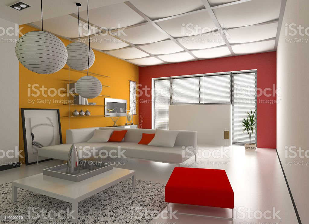 Modern interior with colors of red and yellow royalty-free stock photo