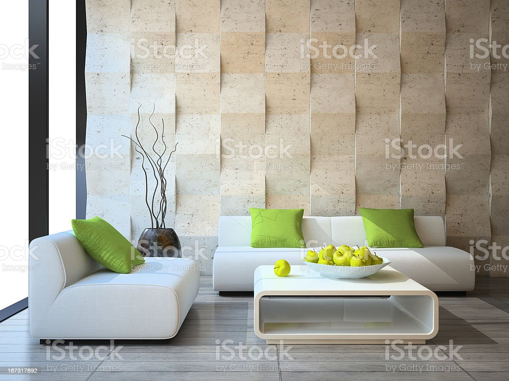 Living Room Designs Indian Style Middle Class, Modern Interior With Concrete Wall Panels Stock Photo Download Image Now Istock