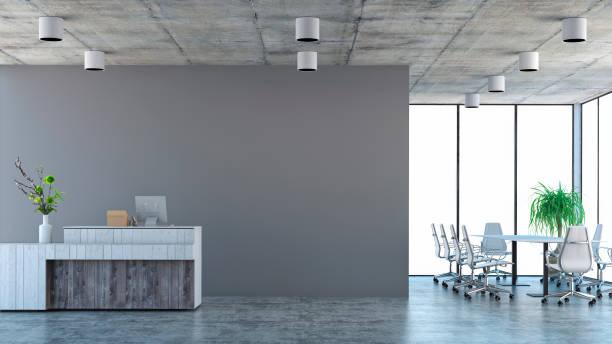 modernes interieur mit konferenz-tisch und stühlen und kassierer-zähler - graues büro stock-fotos und bilder
