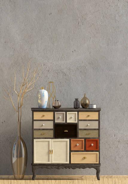 Intérieur moderne avec commode. Mur de faux vers le haut. illustration 3D. - Photo