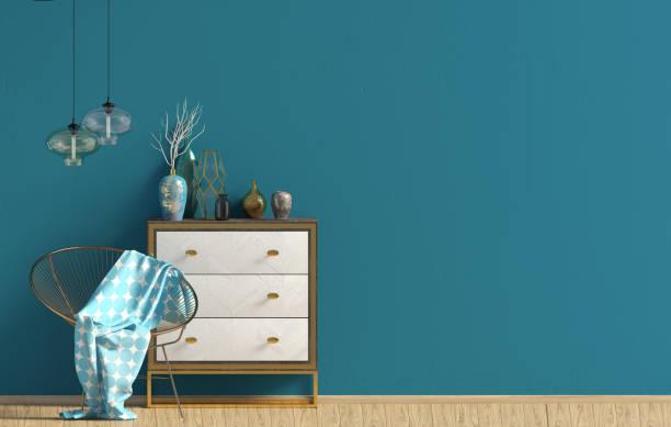 modernes interieur mit kommode. mock-up wand. 3d illustration. - schubladenkommode weiß stock-fotos und bilder