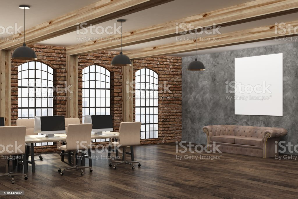 Modern interior with empty poster stock photo