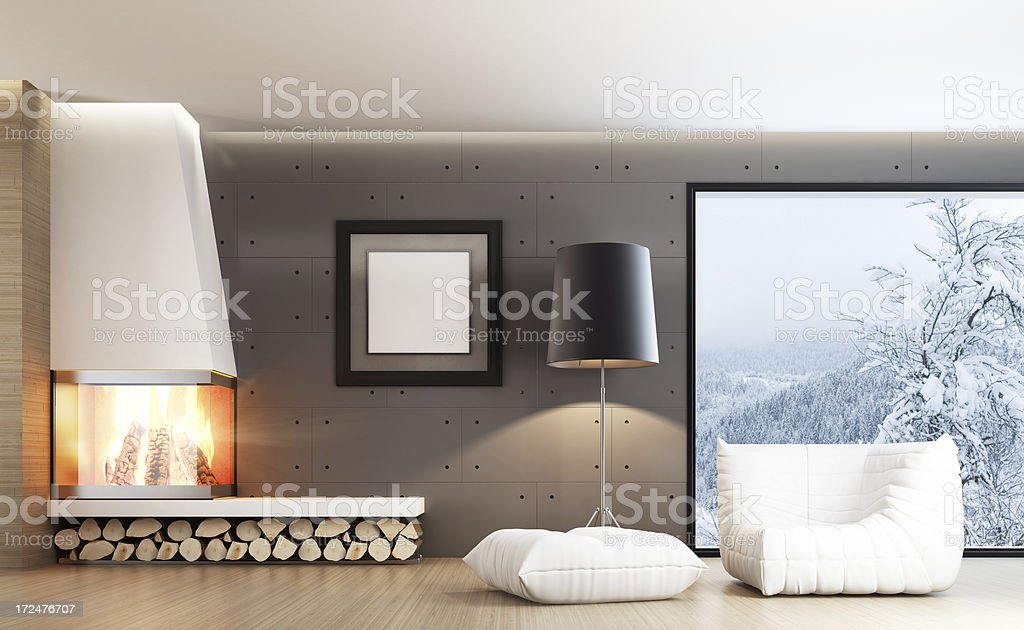 Modern Interior with Fireplace royalty-free stock photo